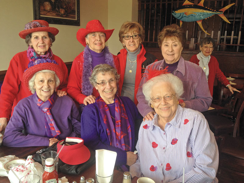 The Red Hatters at Sleepy Hollow's River Grill. Back row (L to R): Mafalda Tornello, Josephine Galgano, Eleanor Hunt, Elaine Byrnes. Seated (L to R): Molly Helwig, Emma Serena, Irene Amato — Photo by: Krista Madsen