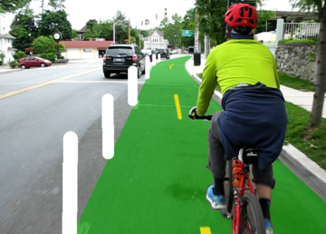 Bike lane rendering in Sleepy Hollow