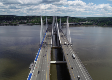 Westchester and Rockland County bridge - Cuomo Bridge heading to Westchester County