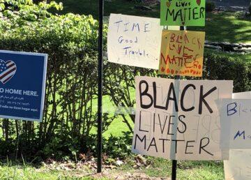 Black Lives Matter posters in Irvington, NY