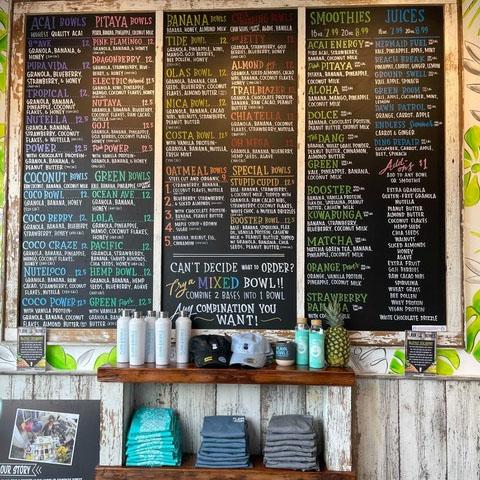 Playa Bowls in Tarrytown - menu board